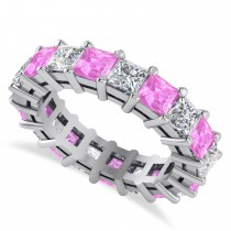 Princess Diamond & Pink Sapphire Wedding Band 14k White Gold (5.61ct)