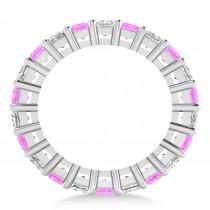 Princess Diamond & Pink Sapphire Wedding Band 14k White Gold (5.61ct)