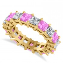 Princess Cut Diamond & Pink Sapphire Eternity Wedding Band 14k Yellow Gold (5.61ct)
