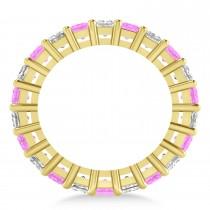 Princess Diamond & Pink Sapphire Wedding Band 14k Yellow Gold (5.61ct)