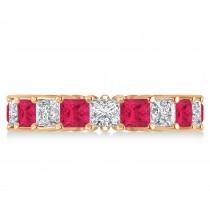 Princess Diamond & Ruby Wedding Band 14k Rose Gold (5.61ct)