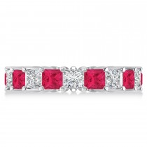 Princess Diamond & Ruby Wedding Band 14k White Gold (5.61ct)