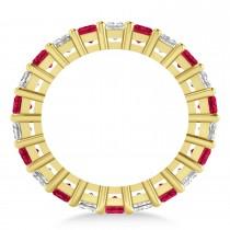 Princess Diamond & Ruby Wedding Band 14k Yellow Gold (5.61ct)