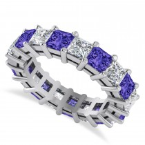 Princess Diamond & Tanzanite Wedding Band 14k White Gold (5.61ct)