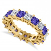 Princess Cut Diamond & Tanzanite Eternity Wedding Band 14k Yellow Gold (5.61ct)