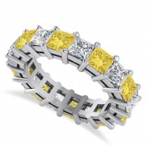 Princess Cut Yellow & White Diamond Eternity Wedding Band 14k White Gold (5.51ct)