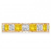 Princess Diamond & Yellow Sapphire Wedding Band 14k Rose Gold (5.61ct)