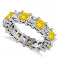 Princess Cut Diamond & Yellow Sapphire Eternity Wedding Band 14k White Gold (5.61ct)