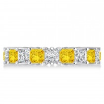 Princess Diamond & Yellow Sapphire Wedding Band 14k White Gold (5.61ct)
