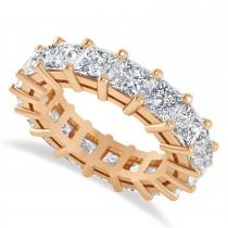 Princess Cut Diamond Eternity Wedding Band 14k Rose Gold (6.63ct)