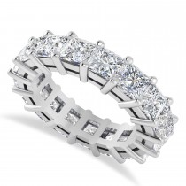 Princess Cut Diamond Eternity Wedding Band 14k White Gold (6.63ct)