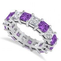 Princess Cut Diamond & Amethyst Eternity Wedding Band 14k White Gold (7.17ct)