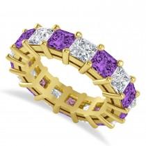 Princess Cut Diamond & Amethyst Eternity Wedding Band 14k Yellow Gold (7.17ct)