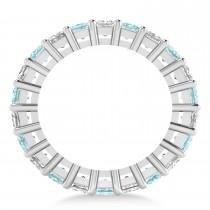 Princess Cut Diamond & Aquamarine Eternity Wedding Band 14k White Gold (7.17ct)