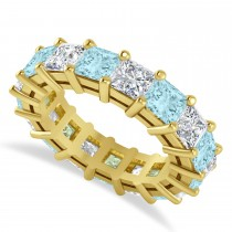 Princess Diamond & Aquamarine Wedding Band 14k Yellow Gold (7.17ct)