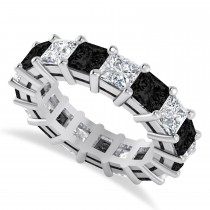 Princess Black & White Diamond Wedding Band 14k White Gold (6.63ct)