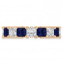 Princess Diamond & Blue Sapphire Wedding Band 14k Rose Gold (7.17ct)