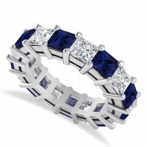 Princess Diamond & Blue Sapphire Wedding Band 14k White Gold (7.17ct)