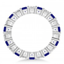Princess Diamond & Blue Sapphire Wedding Band 14k White Gold (7.17ct)