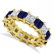 Princess Diamond & Blue Sapphire Wedding Band 14k Yellow Gold (7.17ct)