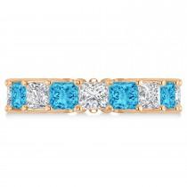 Princess Diamond & Blue Topaz Wedding Band 14k Rose Gold (7.17ct)