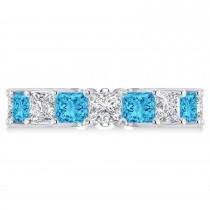 Princess Diamond & Blue Topaz Wedding Band 14k White Gold (7.17ct)