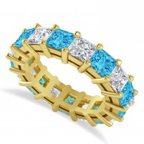 Princess Cut Diamond & Blue Topaz Eternity Wedding Band 14k Yellow Gold (7.17ct)