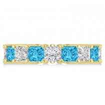 Princess Diamond & Blue Topaz Wedding Band 14k Yellow Gold (7.17ct)