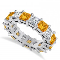 Princess Diamond & Citrine Wedding Band 14k White Gold (7.17ct)