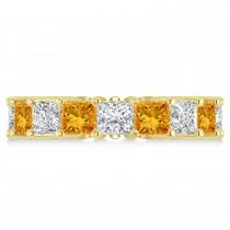 Princess Diamond & Citrine Wedding Band 14k Yellow Gold (7.17ct)