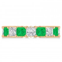 Princess Diamond & Emerald Wedding Band 14k Rose Gold (7.17ct)