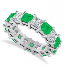 Princess Diamond & Emerald Wedding Band 14k White Gold (7.17ct)