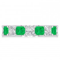 Princess Diamond & Emerald Wedding Band 14k White Gold (7.17ct)