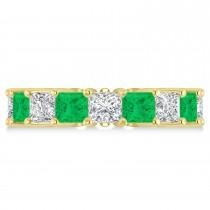 Princess Diamond & Emerald Wedding Band 14k Yellow Gold (7.17ct)