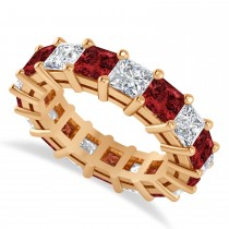 Princess Diamond & Garnet Wedding Band 14k Rose Gold (7.17ct)