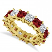 Princess Diamond & Garnet Wedding Band 14k Yellow Gold (7.17ct)