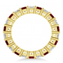 Princess Diamond & Garnet Wedding Band 14k Yellow Gold (7.17ct)