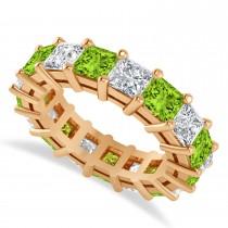 Princess Cut Diamond & Peridot Eternity Wedding Band 14k Rose Gold (7.17ct)