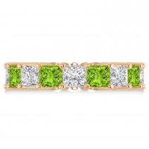 Princess Diamond & Peridot Wedding Band 14k Rose Gold (7.17ct)