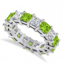 Princess Diamond & Peridot Wedding Band 14k White Gold (7.17ct)
