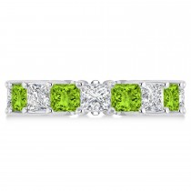 Princess Diamond & Peridot Wedding Band 14k White Gold (7.17ct)