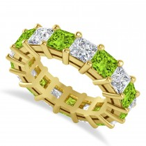 Princess Diamond & Peridot Wedding Band 14k Yellow Gold (7.17ct)
