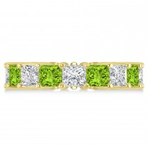Princess Diamond & Peridot Wedding Band 14k Yellow Gold (7.17ct)