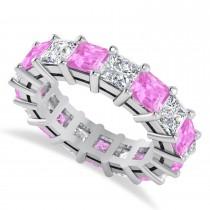 Princess Cut Diamond & Pink Sapphire Eternity Wedding Band 14k White Gold (7.17ct)