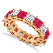 Princess Cut Diamond & Ruby Eternity Wedding Band 14k Rose Gold (7.17ct)