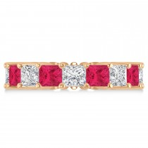 Princess Diamond & Ruby Wedding Band 14k Rose Gold (7.17ct)