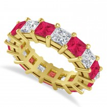 Princess Diamond & Ruby Wedding Band 14k Yellow Gold (7.17ct)