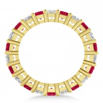 Princess Diamond & Ruby Wedding Band 14k Yellow Gold (7.17ct)