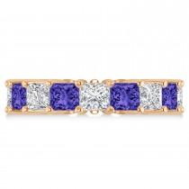 Princess Diamond & Tanzanite Wedding Band 14k Rose Gold (7.17ct)