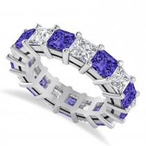 Princess Diamond & Tanzanite Wedding Band 14k White Gold (7.17ct)
